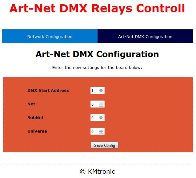 ArtNet DMX Two Relay controller