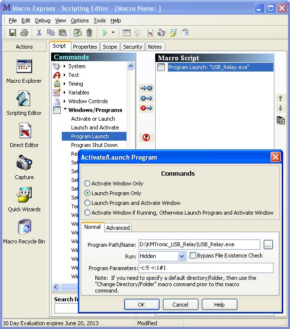 KMtronic Macro Express KMtronic USB Relay Control Example