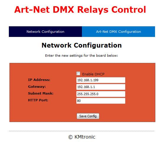 KMtronic Ltd: Art-Net DMX Two Relay controller