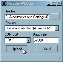 Upload HEX files to Arduino