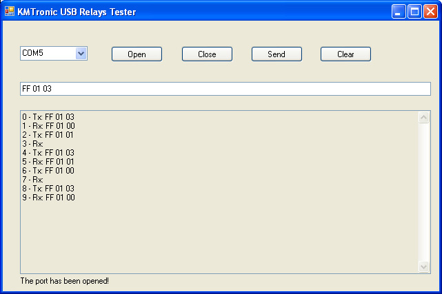 KMTronic USB Relay Test software